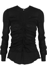 Isabel Marant Heather ruched silk-georgette top