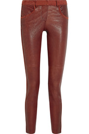 Dana suede-trimmed stretch-leather skinny pants