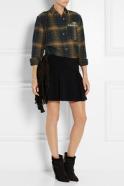 Isabel Marant Milane embellished plaid linen and wool-blend shirt