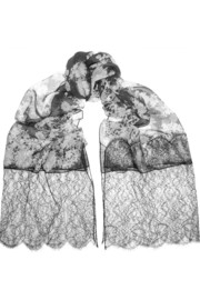 Erdem Lace and printed silk-chiffon scarf