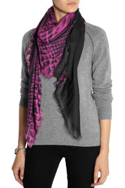 Christopher Kane Snake-print modal and cashmere-blend scarf