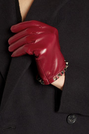 Valentino Stud-embellished leather gloves