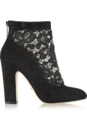 Dolce & Gabbana Vally lace and suede ankle boots