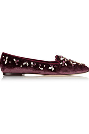 Audrey crystal-embellished velvet slippers