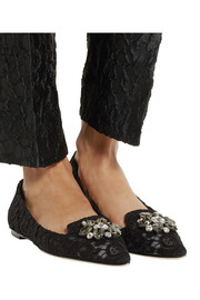 Dolce & Gabbana Bellucci crystal-embellished lace point-toe flats