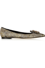 Dolce & Gabbana Bellucci embellished macramé point-toe flats