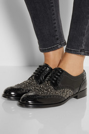 Boy Donna embellished glossed-leather brogues