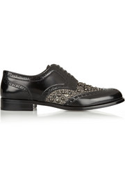 Dolce & Gabbana Boy Donna embellished glossed-leather brogues
