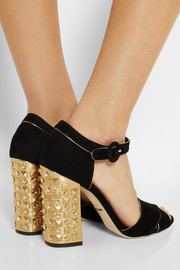 Dolce & Gabbana Bianca embellished suede and metallic leather sandals