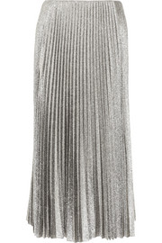 Cédric Charlier Pleated silk-blend lamé midi skirt