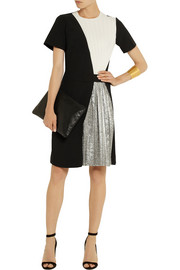 Cédric Charlier Crepe and silk-blend lamé mini dress