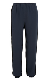 Cédric Charlier Two-tone crepe and satin tapered pants