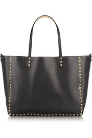 Valentino The Rockstud Reversible medium textured-leather trapeze bag
