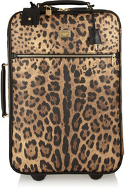 Dolce & Gabbana Leopard-print faux leather travel trolley