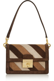 Dolce & Gabbana Striped suede shoulder bag