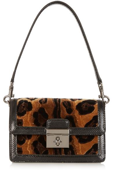 dc568d0482ba Dolce   Gabbana. Rosalia leopard-print velvet and ayers shoulder bag
