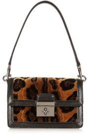Rosalia leopard-print velvet and ayers shoulder bag