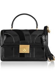 Dolce & Gabbana Rosalia patent-leather, suede and ayers shoulder bag