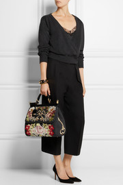 Dolce & Gabbana Sicily ayers-trimmed appliquéd felted twill tote