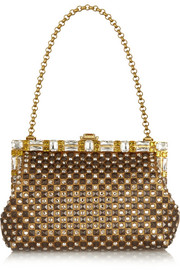 Dolce & Gabbana Vanda Swarovski crystal-embellished metallic leather clutch