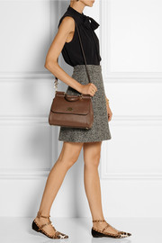 Sicily medium textured-leather shoulder bag