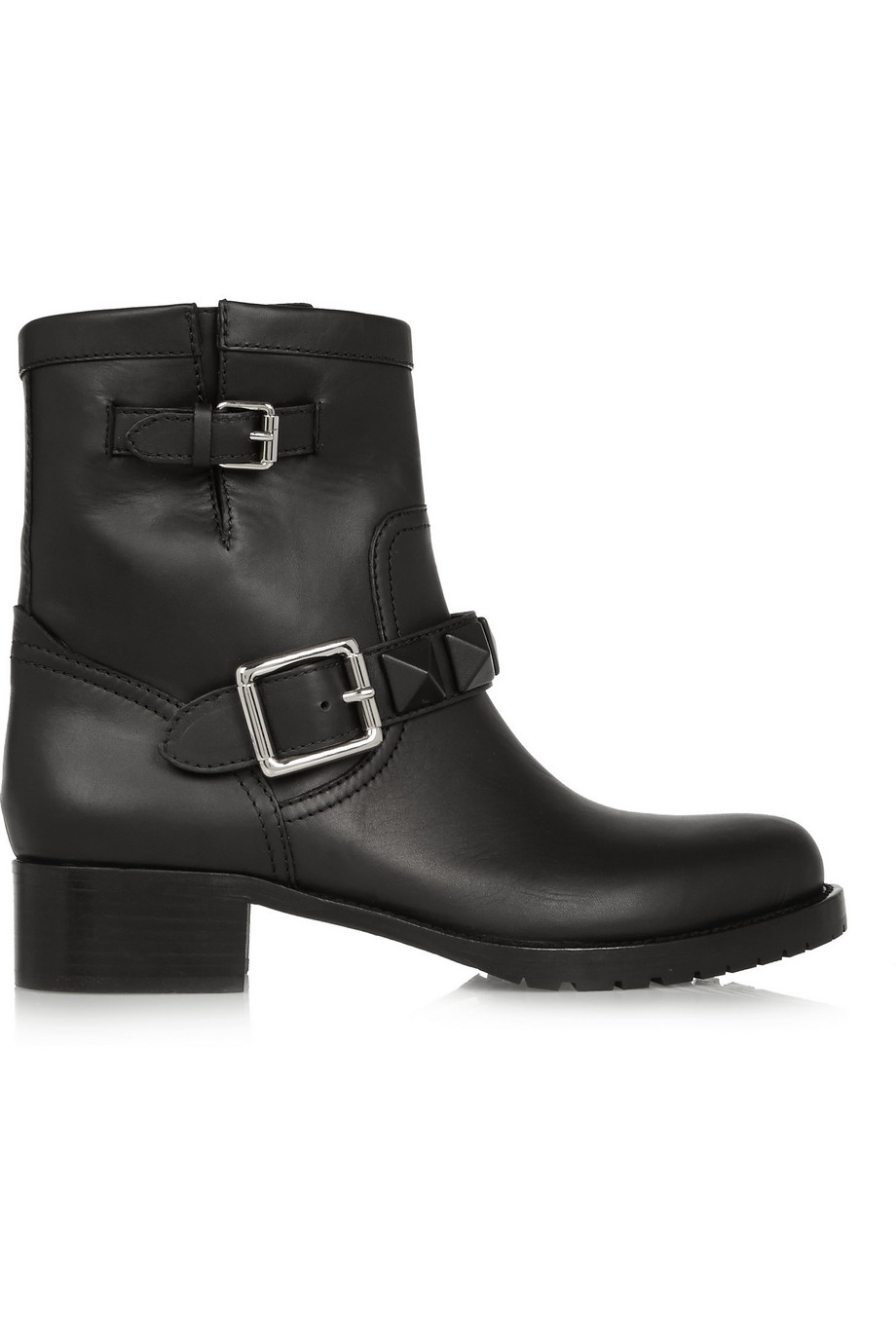 Valentino Lock Leather Biker Boots, Black, Women's US Size: 4.5, Size: 35