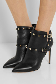 Valentino Rockstud textured-leather ankle boots