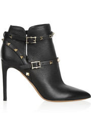 Rockstud textured-leather ankle boots