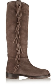 Valentino Fringed shearling-lined suede knee boots