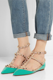 Valentino Rockstud patent-leather point-toe flats