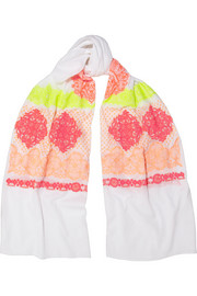 St Remy neon-embroidered cotton-voile scarf