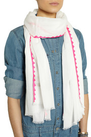 Rose & Rose Monaco neon silk-trimmed cotton-voile scarf