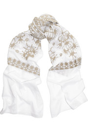 Aix embroidered cotton scarf