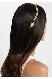 Rhodium-plated crystal headband