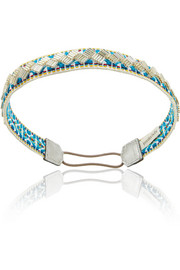 Jennifer Behr Leather-trimmed woven cotton headband
