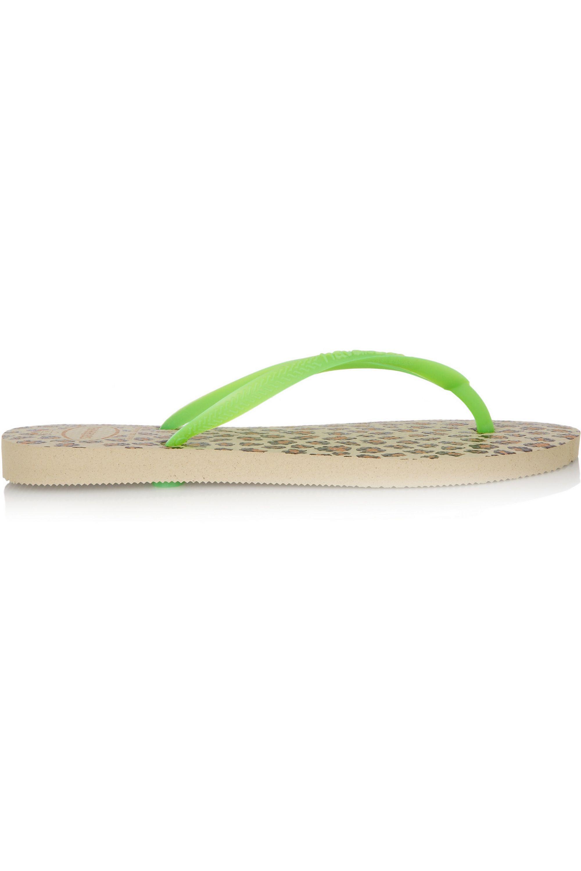Havaianas Slim leopard-print rubber flip flops