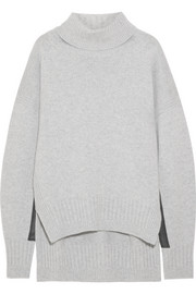 Jil Sander Leather-trimmed cashmere turtleneck sweater