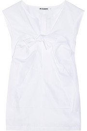Jil Sander Bow-embellished cotton-poplin top