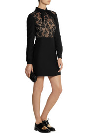 Valentino Lace-paneled wool and silk-blend crepe dress