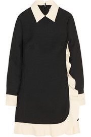 Valentino Two-tone wool and silk-blend crepe mini dress