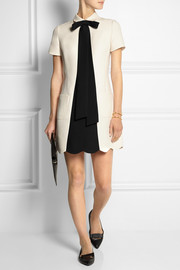 Valentino Bow-embellished wool-blend crepe mini dress