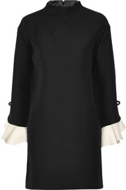 Valentino Ruffled wool and silk-blend mini dress