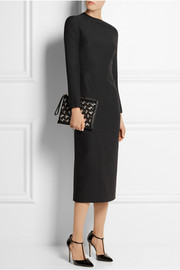 Valentino Asymmetric wool and silk-blend crepe dress