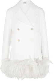 Valentino Feather-trimmed wool-blend coat