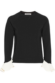 Valentino Ruffle-trimmed stretch-knit sweater