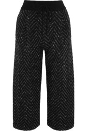 Cropped zigzag wool-blend wide-leg pants