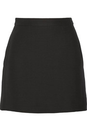 Valentino Wool and silk-blend crepe mini skirt
