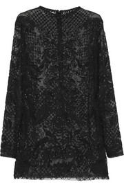 Valentino Embroidered beaded tulle top