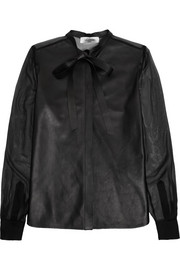 Pussy-bow leather and silk-chiffon shirt