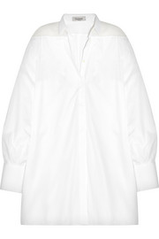 Oversized silk organza-paneled cotton-poplin shirt